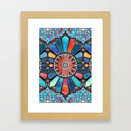 Iridescent Watercolor Brights on Black Framed Art Print