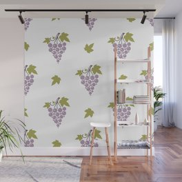 Seamless pattern with bunches of ripe grapes  Wall Mural