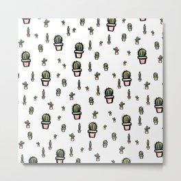 Colored Cactus Pattern Metal Print