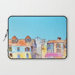 Pretty colorful houses street in old town with blue sky Laptop Sleeve