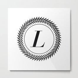 Monogram Laurel Wreath Design in White - Letter L Vecto Metal Print