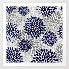 Floral Prints, Navy Blue and Grey, Art for Walls Art Print