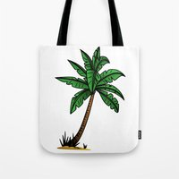 palm tree Tote Bags featuring palm tree by Li-Bro