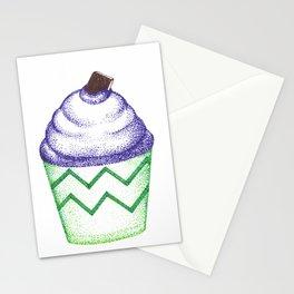 blue cupcake (pointillism) Stationery Cards