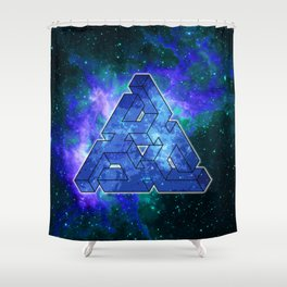 Triangle Blue Space With Nebula Shower Curtain