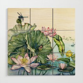 Japanese Water Lilies and Lotus Flowers Wood Wall Art