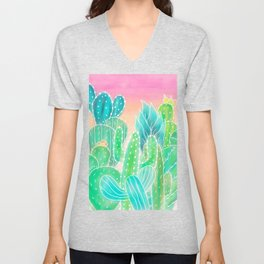 Modern tropical exotic summer cactus illustration pink ombre watercolor Unisex V-Neck