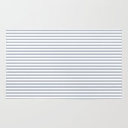 Pale Blue Grey and White Horizontal Stripes Rug