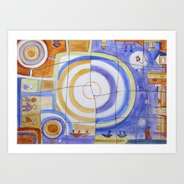 "Puzzle Painting "" Day and Night "" . Mixed media painting . Art Print"