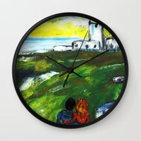 lighthouse Wall Clocks featuring lighthouse by Nastya Bo