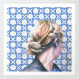 Hair Study #13 Blue Art Print