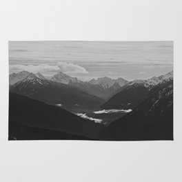Mountain Landscape Black and White Rug