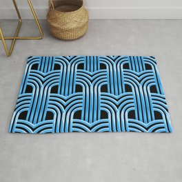 McCool Blue 3-D Graphic Design Pattern Rug