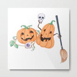 Cute Halloween Pumpkins Metal Print