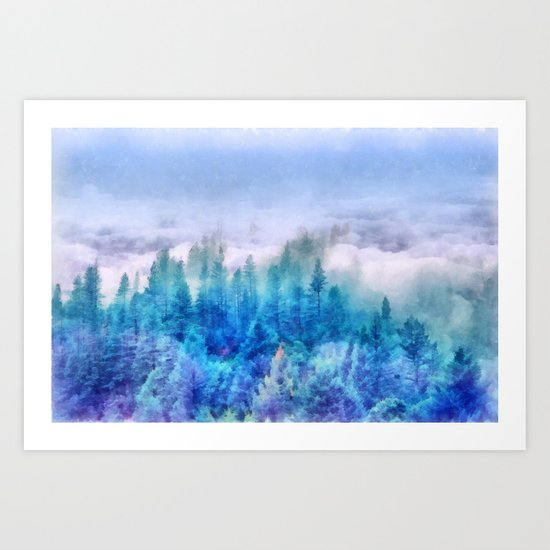 Clouds over pine forest Art Print