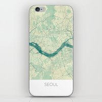 seoul iPhone & iPod Skins featuring Seoul Map Blue Vintage by City Art Posters