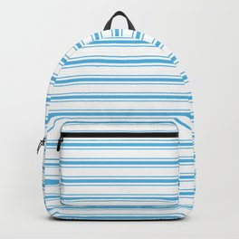 Oktoberfest Bavarian Blue and White Large Mattress Ticking Stripes Backpack