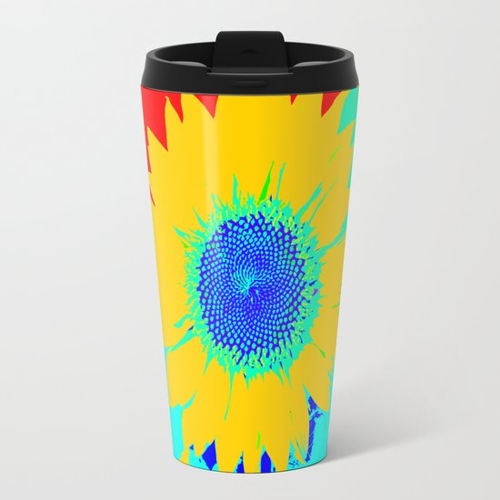Fun Sunflower Metal Travel Mug