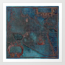 Antique Map Teal Blue and Copper Art Print