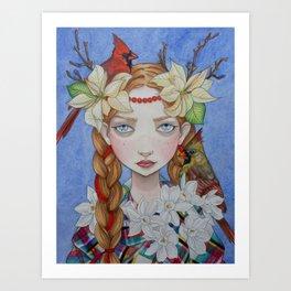 December - Poinsettia Art Print