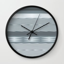 Gray blue striped abstract pattern . Wall Clock