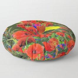 MODERN  ORIENTAL STYLE FLOWERS GREEN GARDEN DESIGN Floor Pillow