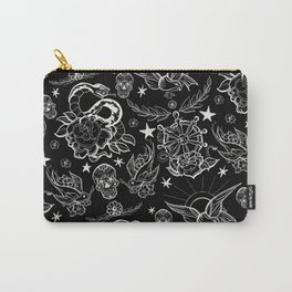 Black and White Inked Alternative Flash Pattern Carry-All Pouch
