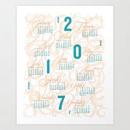 2017 Typographic and Lettering Calendar Orange/Blue Art Print