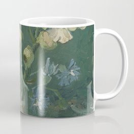 Small Bottle with Peonies and Blue Delphiniums Coffee Mug