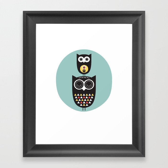 Owl Décor Modern Nursery Art Geometric Pattern Framed Print By Helloolive