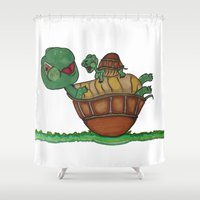 turtles Shower Curtains featuring Turtles by BNK Design