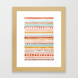 Boho Stripes - Watercolour pattern in rusts, turquoise & mustard. Nursery print Framed Art Print