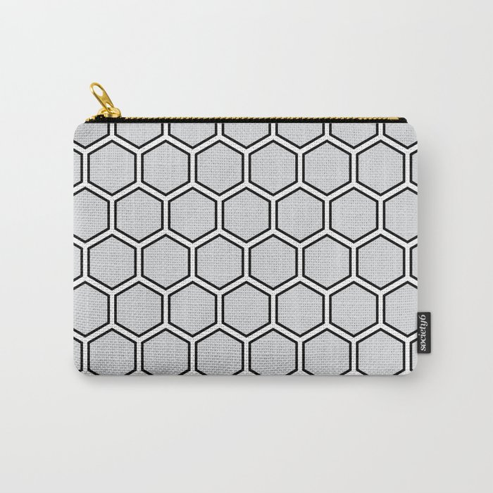 Light gray, white and black hexagonal pattern Carry-All Pouch