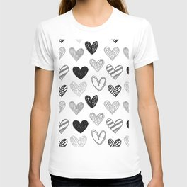 Black and White Hearts T-shirt