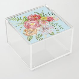Bouquet of Watercolor on Blue Background Acrylic Box