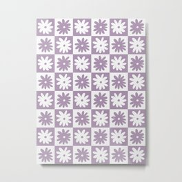 Purple And White Checkered Flower Pattern Metal Print