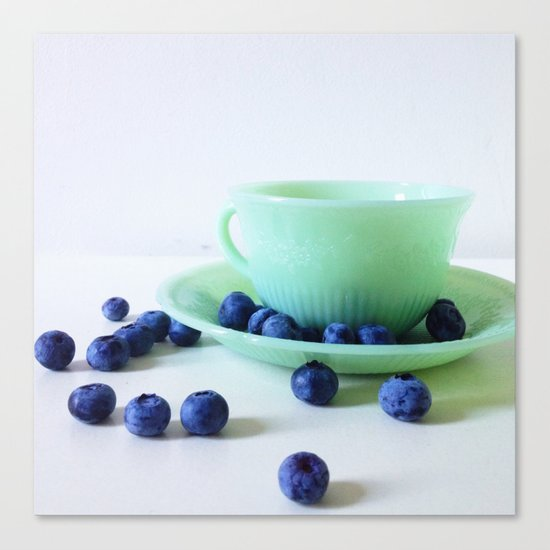 Retro Breakfast - Jadite and Blueberries Canvas Print