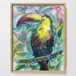 TOUCAN, watercolor illustration (nature) Serving Tray