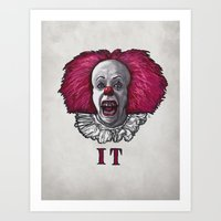 pennywise Art Prints featuring Pennywise by zinakorotkova
