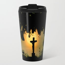 Misty sunrise at the cemetery Travel Mug