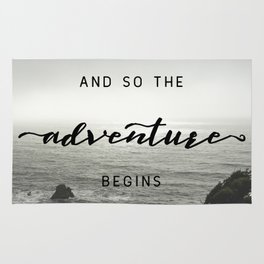 And So The Adventure Begins - Ocean Emotion Black and White Rug