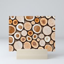 Abstract Art Of Wooden Disks Mini Art Print