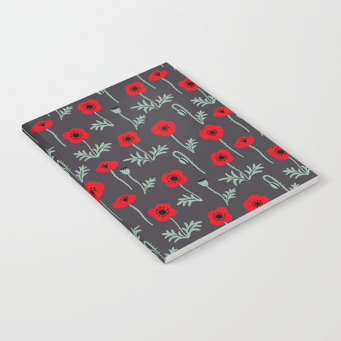 Red poppy flower pattern Notebook