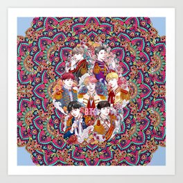 BTS Love Yourself, Kings, ARMY, KPOP Art, Mandala Art Print