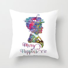 Mary Poppins Portrait Silhouette Throw Pillow
