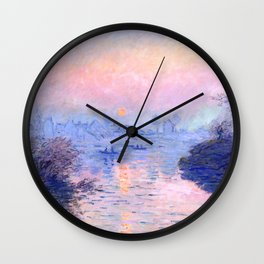 "Claude Monet ""Sunset on the Seine at Lavacourt. Winter Effect"" Wall Clock"