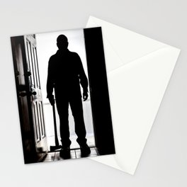 Bad Man at door in silhouette with axe Stationery Cards