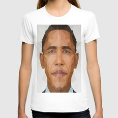 Obama Womens Fitted Tee White LARGE