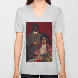 African American Portrait Masterpiece 'Lucie and Her Partner' by Kees van Dongen Unisex V-Neck