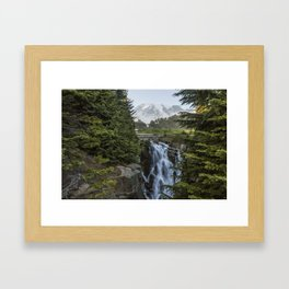 Mount Rainier and Myrtle Falls, Late Afternoon Framed Art Print